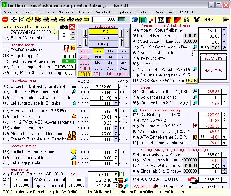 Screenshot vom Programm: Gehalt.de